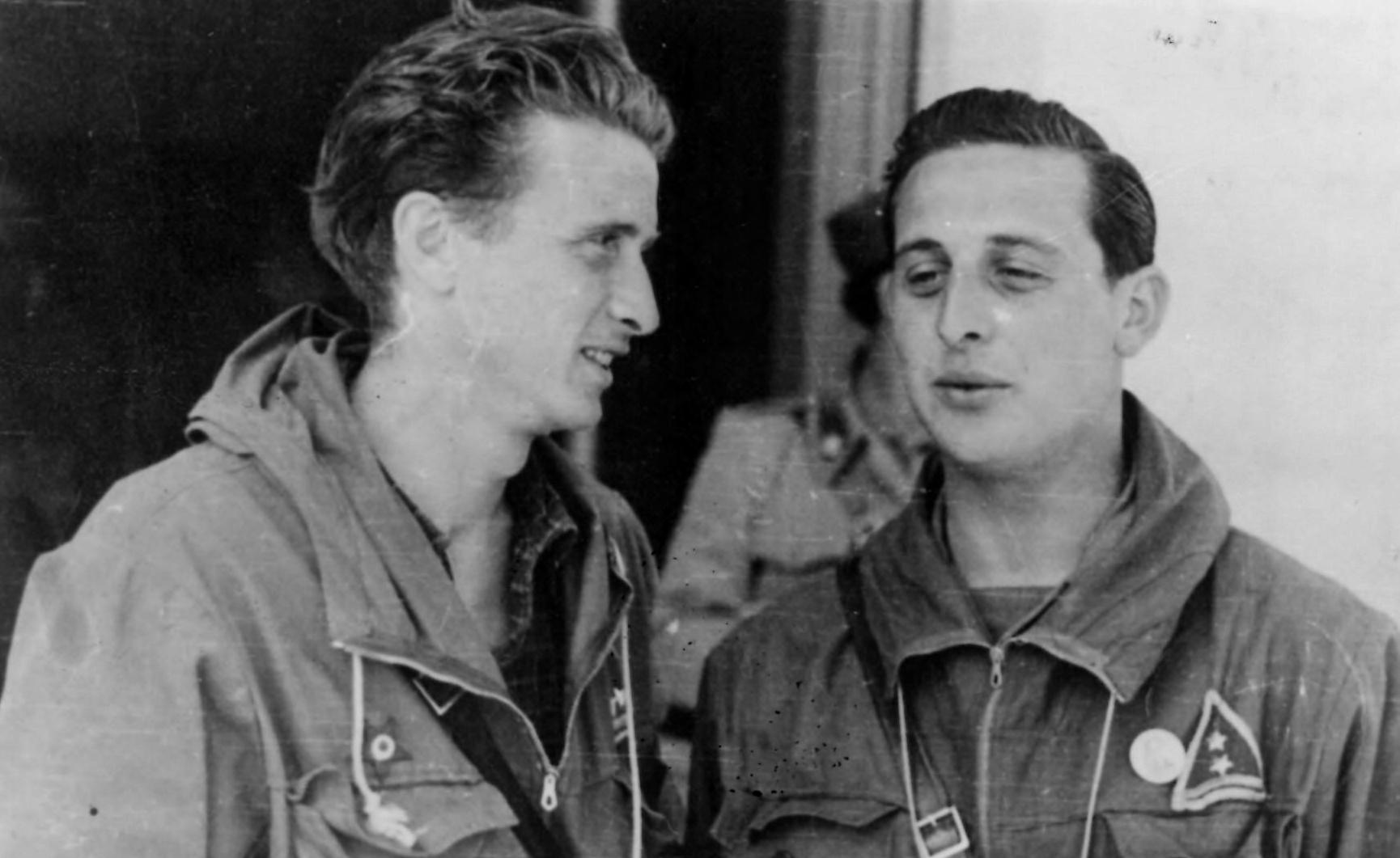 """Piero Germano """"Gandhi"""" e Gilio Morino """"Tarzan"""" (Archivio fotografico Casa della Resistenza di Sala Biellese)"""