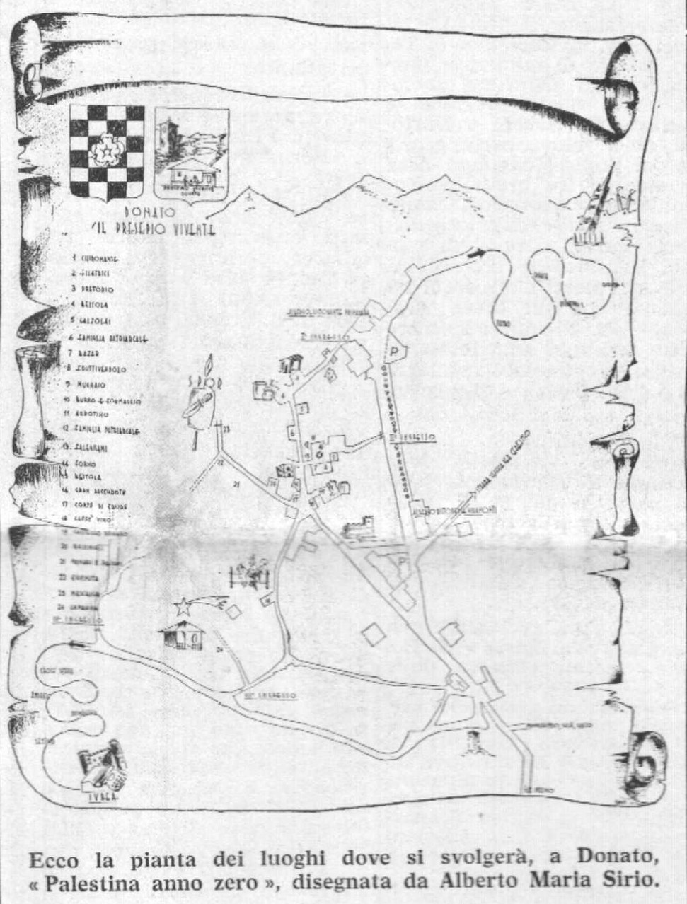 """La cartina di Donato-Betlemme pubblicata, in vista della seconda edizione di """"Palestina anno zero"""", su """"il Biellese"""" del 6 dicembre 1966"""