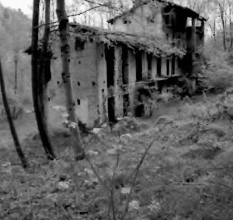 Il rudere del mulino sul torrente Viona (Archivio fotografico Casa della Resistenza di Sala Biellese)