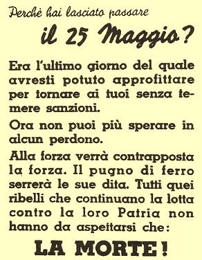 Volantino fascista successivo alla scadenza del bando del 25 maggio 1944 (Archivio Casa della Resistenza di Sala Biellese)