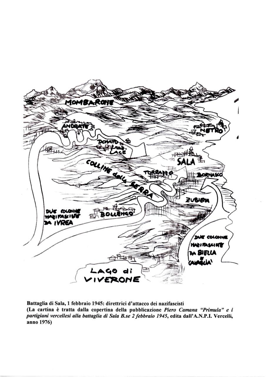La battaglia di Sala, direttrici di attacco delle forze nazifasciste
