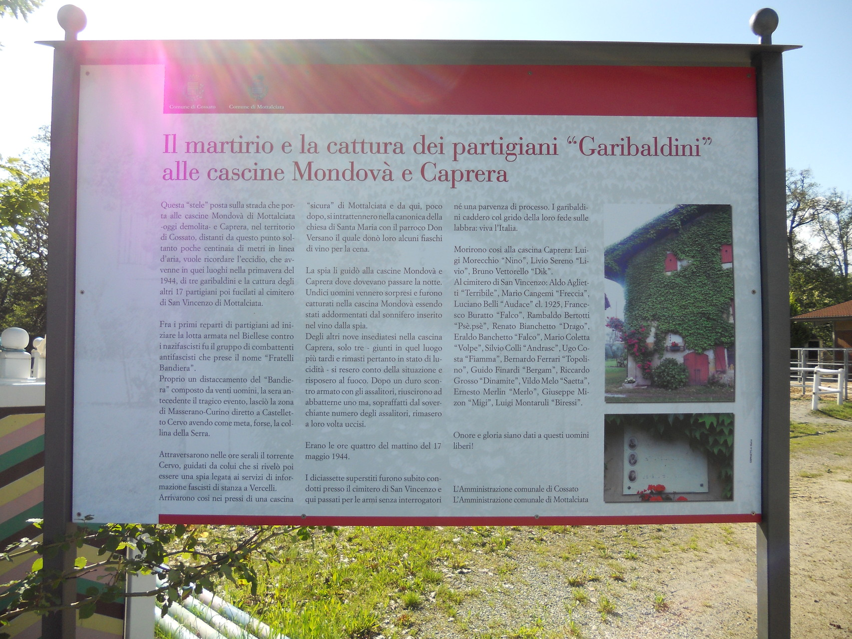 Pannello descrittivo collocato dalle amministrazioni comunali di Mottalciata e Cossato
