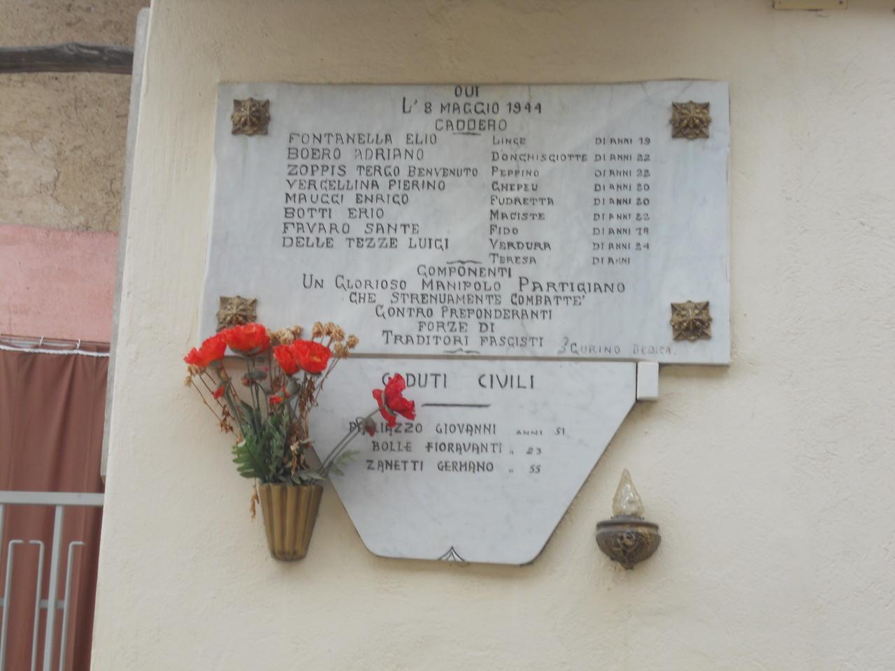 La lapide in memoria dei Caduti partigiani e civili dell'8 maggio 1944