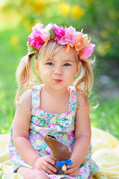 Kind, Blumenkette, Frühling, Osterhase, Ostern