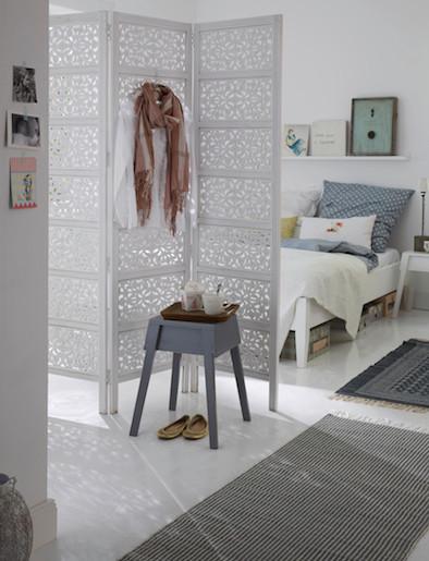 Schlafzimmer, Wohnidee, Einrichtungsidee, Raumteiler, Fensterdeko