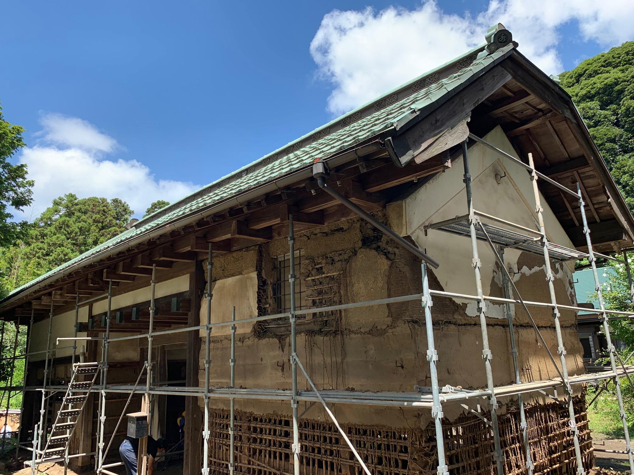 富津市本郷 古民家再生 土壁をはがして練り直して塗りなおす