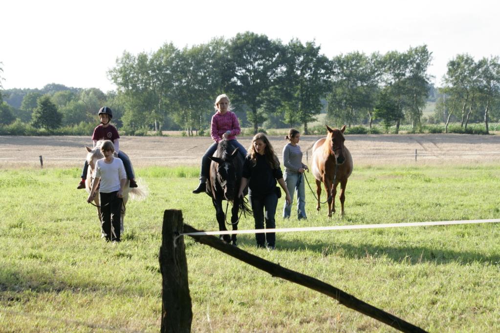 Kinder reiten auf der Weide