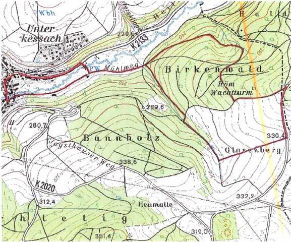 voraussichtliche Wanderroute (rot) und Limesverlauf (orange)