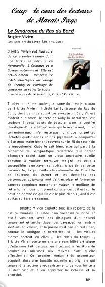 """Coup de coeur pour le roman """"Le syndrome du ras du bord"""" de Brigitte Vivien. Article paru dans Marais Page de novembre 2016"""