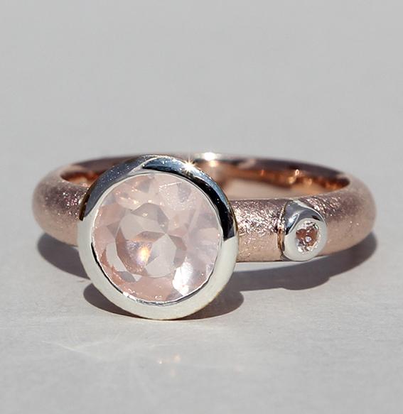 ring-zart-rosenquarz -rund-6 mm-Bergkristall- 3 mm-silber- rose-vergoldet-925-sterling
