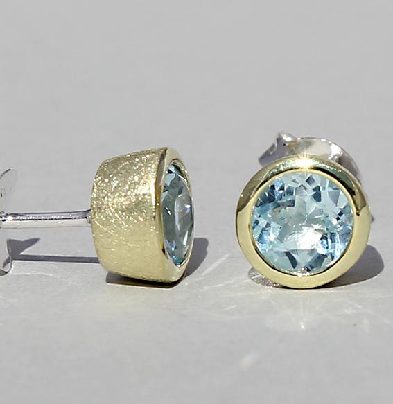 ohrstecker-blautops(beh.)- stein 6 mm- gesamtbreite 8 mm-sterling-silber-925-fassung vergoldet