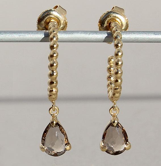 ohrcreolen-zart-rauchquarz 6x9 mm steine -sterling-silber-925-fassung vergoldet