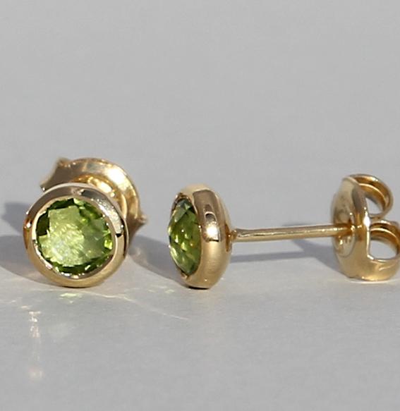 ohrstecker-peridot-viele andere farben- schön flach am ohr-silber-sterling-925-vergoldet-stein 5mm-gesamtbreite 7mm