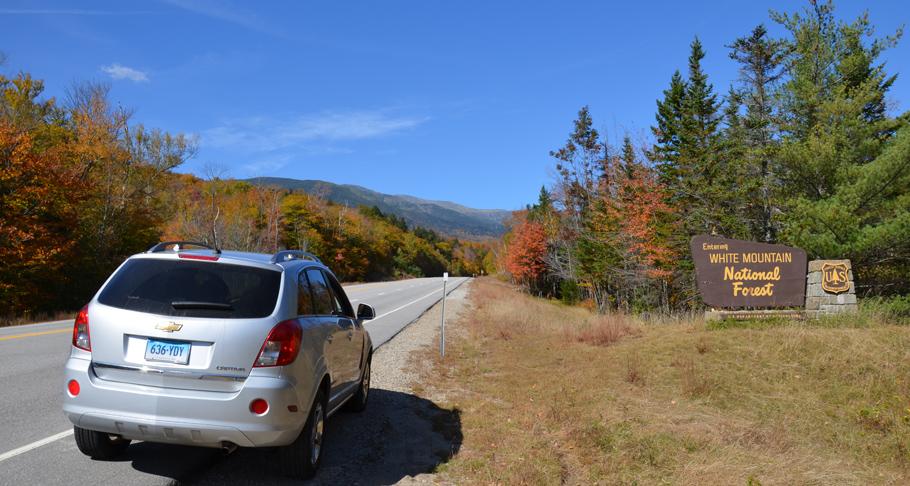 Mit einer fantastischen Laubfärbung präsentiert sich der White Mountain National Forest.