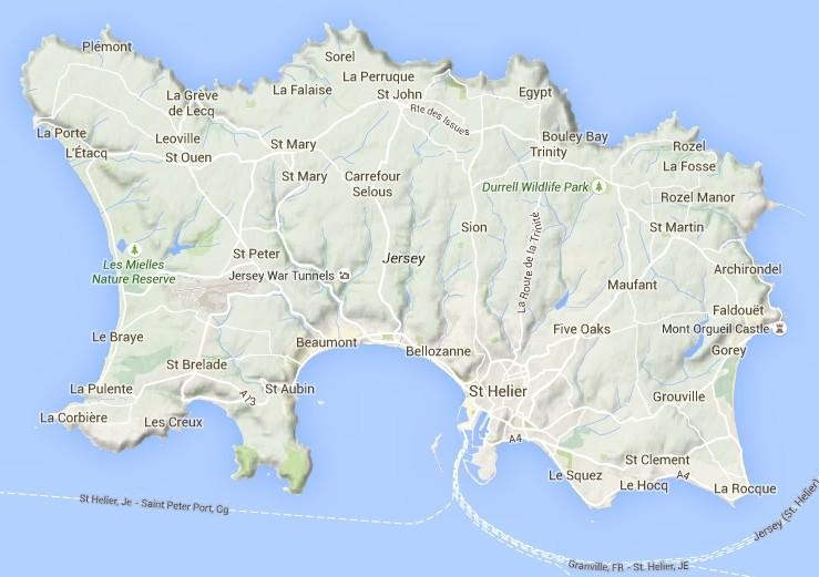 Karte von Jersey