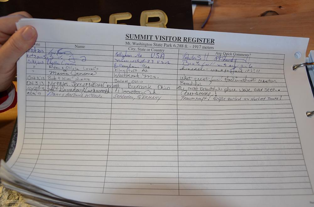 Der obligatorische Eintrag ins Gipfelbuch.