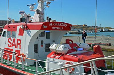 SAR Rettungsschiff Margrethe Gaardbo im Hafen.