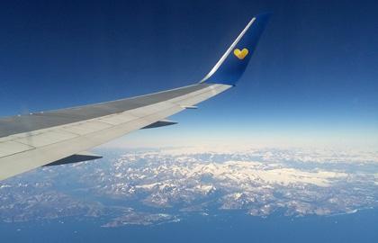 Blick aus 10 km Höhe auf Grönland.