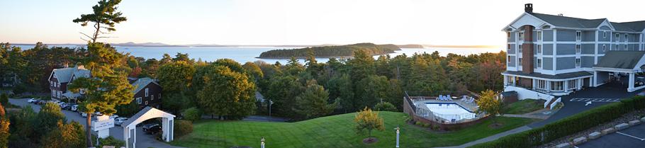 Blick von unserem Hotel The Bluenose Inn über die Bucht vor Bar Harbor.