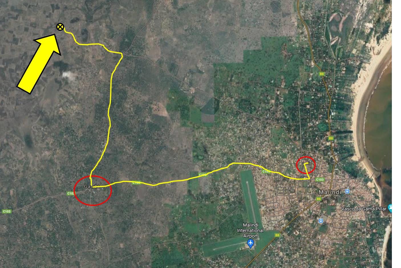 10 Kilometer ausserhalb von Malindi - fern von befestigten Strassen