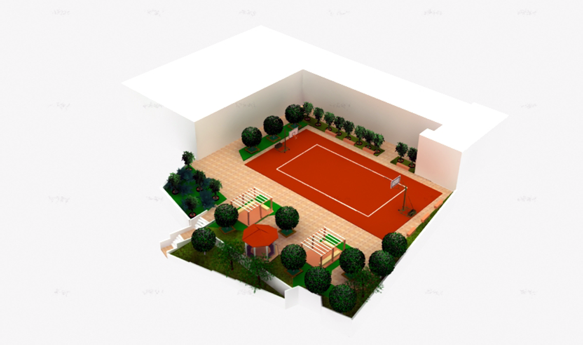 4th/ 11th Primary Schools of Sykies: Photorealistic representation of the redesigned schoolyard.