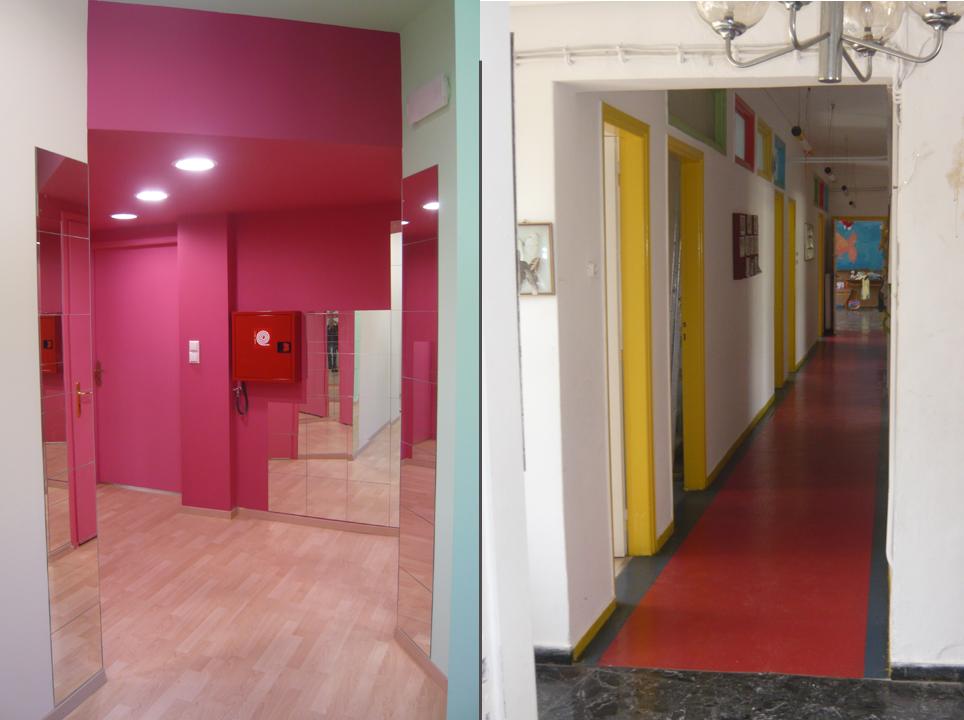 Ecole maternelle: le couloir après (à gauche) et avant le redesign