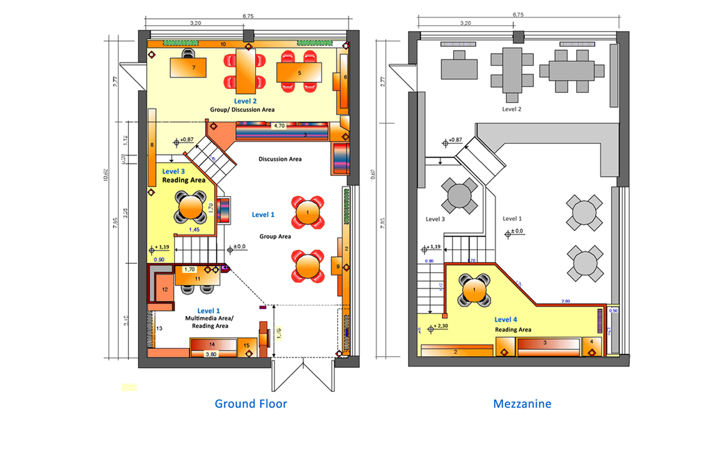 Plan, after redesign. To the left: Ground floor (levels 1-3); to the right: Mezzanine (level 4).