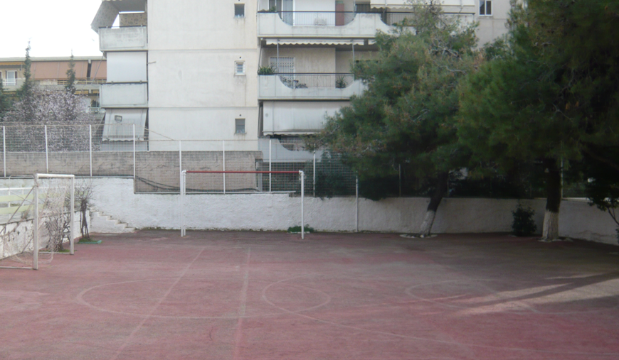 "View of the schoolyard, ""European Model"" Primary School, Athens, before redesign."