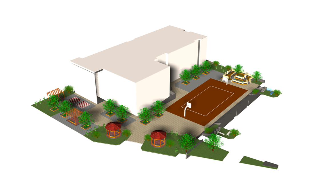 3rd/ 6th Primary Schools of Sykies: Photorealistic representation of the redesigned schoolyard.