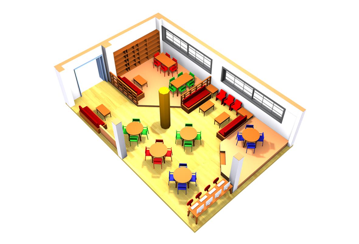 Η ίδια αίθουσα, με τον ίδιο εξοπλισμό, αναδιαταγμένη για να λειτουργήσει ως σχολική βιβλιοθήκη.