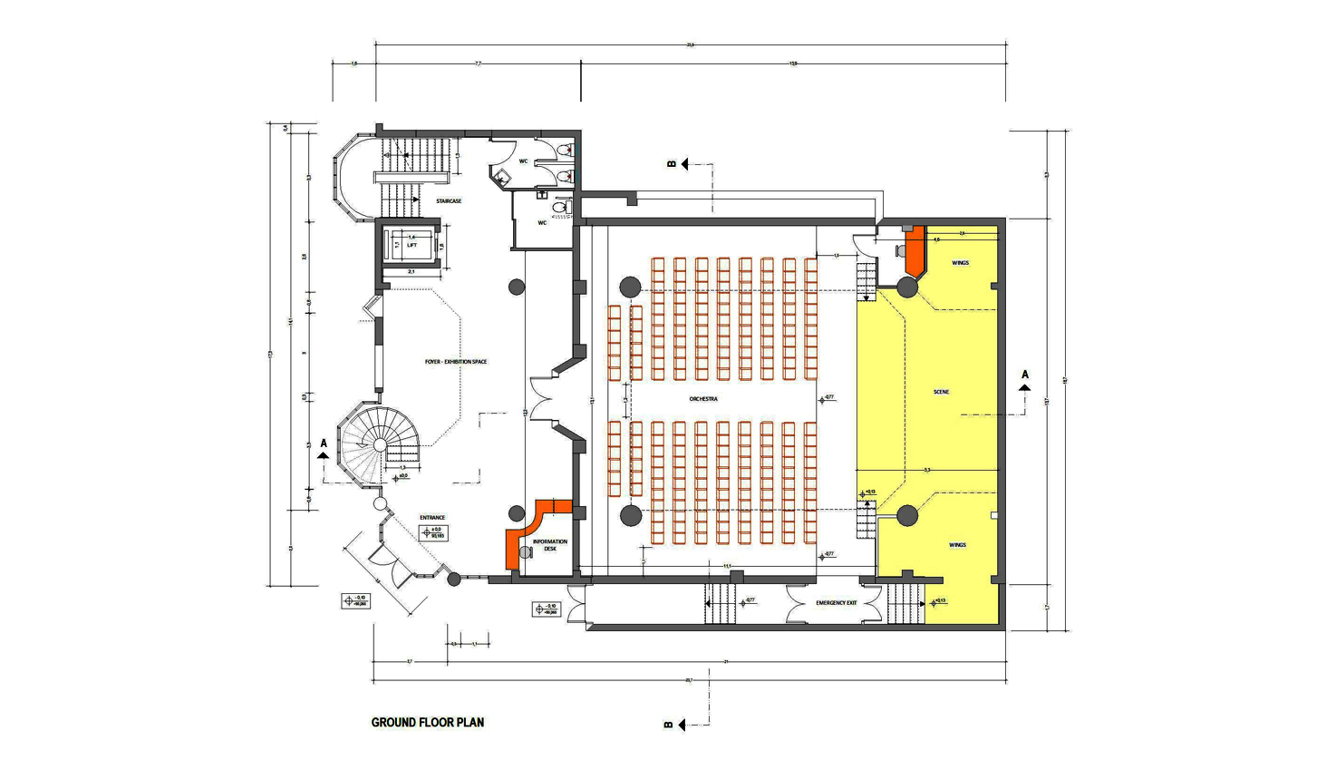 Ground Floor Plan. Cinema, theater & conferences hall; gallery area
