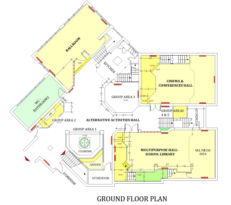 Plan : hall d'activités et restaurant solaire/ bibliothèque scolaire et salle d'art et culture/ salle de danse/ salle de cinéma et de conférences