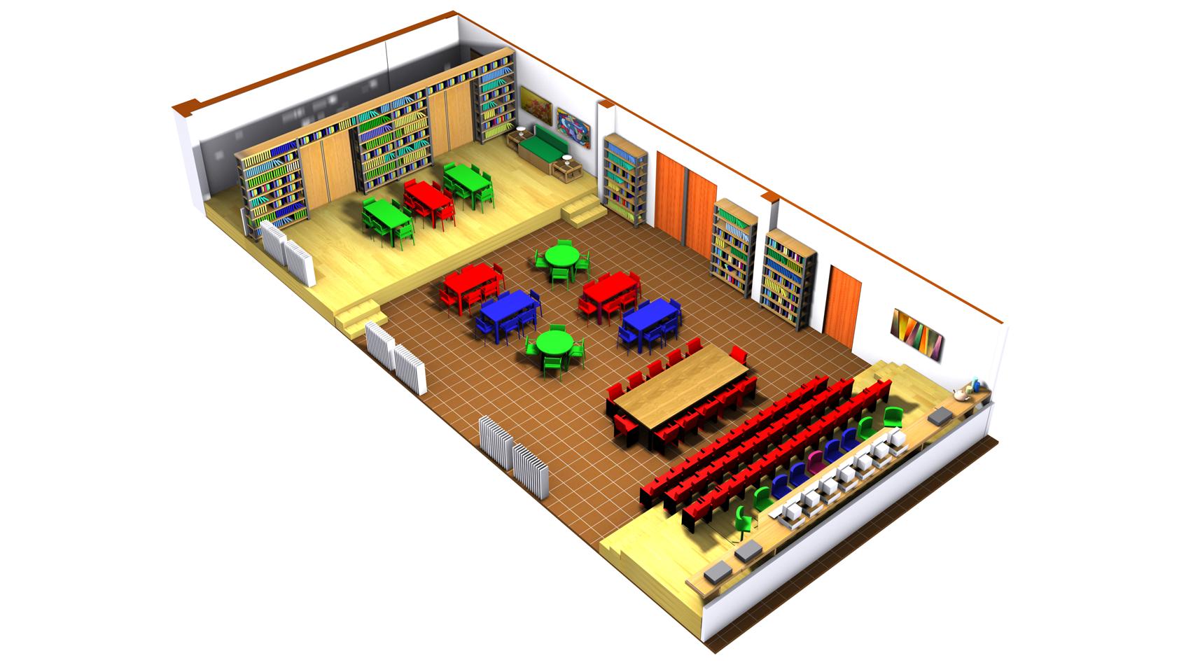 L'espace réaménagé fonctionne a) comme bibliothèque scolaire et salle d'étude...