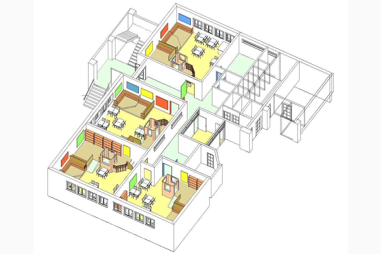 Axonométrie du bâtiment de maternelle