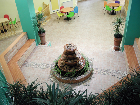 After: the fountain area, planned for small groups or for the entire class group.