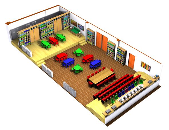 Centre Scolaire d'Éducation et de Culture (CSEC), aménagée pour fonctionner comme bibliothèque scolaire