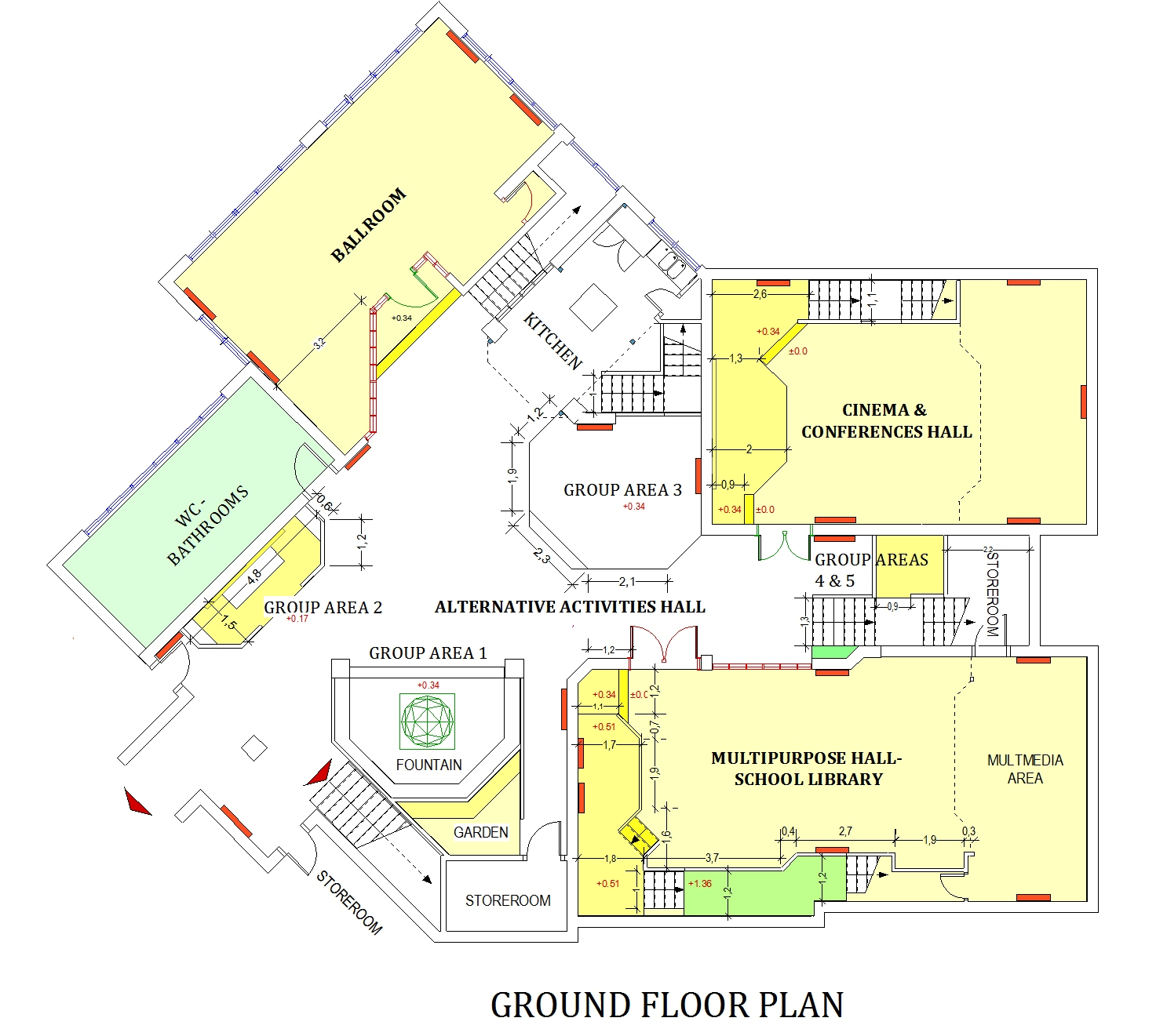 The ECSC plan, after redesign. On the ground floor, a complex of spaces for educational and cultural activities.