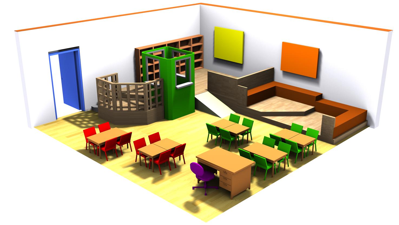 Τυπική αίθουσα διδασκαλίας, ανασχεδιασμένη για να λειτουργήσει με τη συνεργατική μέθοδο.