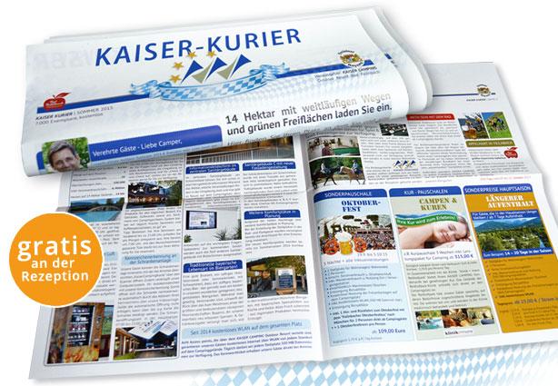 Kaiser-Kurier mit Neuigkeiten vom KAISER CAMPING Outdoor Resort