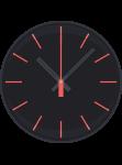 Uhr mit schwarzem Ziffernblatt und roten Zeigern