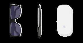 Sonnenbrille, Stift und Computermaus