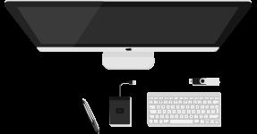 Aufsicht auf Computer, Tastatur, USB-Stick, mobiler Festplatte und digitalem Stift