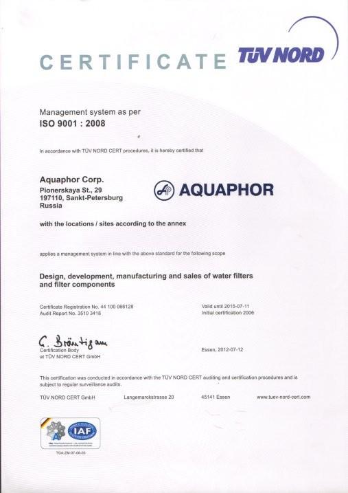 Zertifikat Aquaphor Bauteile Tüv Nord