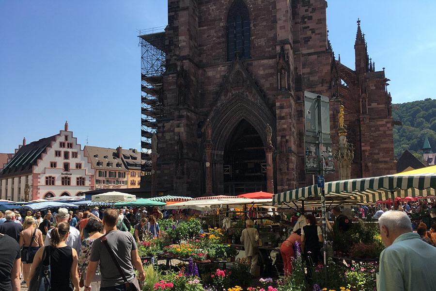 Freiburg, Markt, eine eine Autostunde entfernt