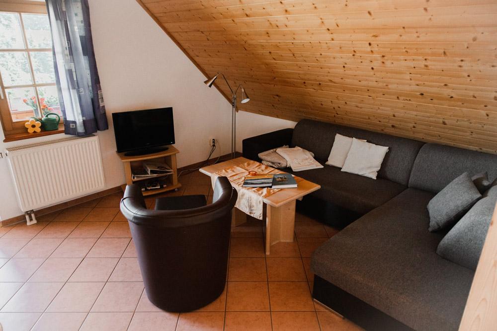 Wohnzimmer mit Wohnlandschaft, Flachbildfernseher, SAT-Empfang