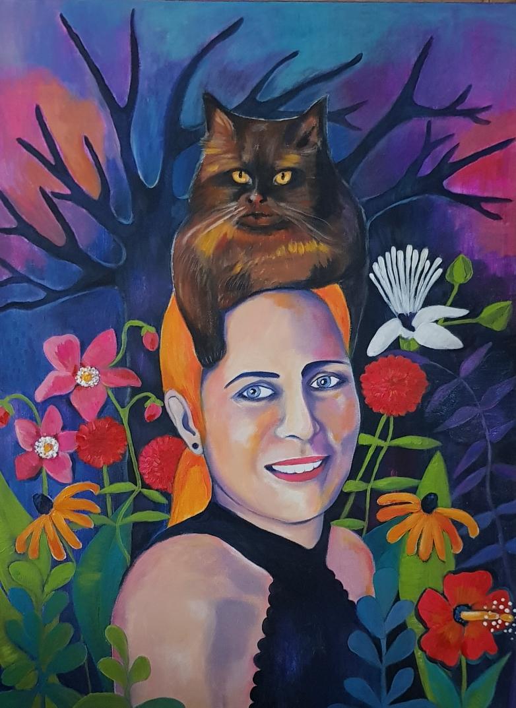 Carmen & Bonnie without Clyde. Acryl auf Leinwand. 80x60cm.
