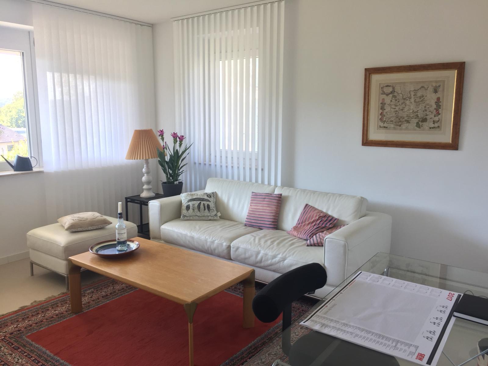 Wohnzimmer mit Ledercouch und Schreibtisch