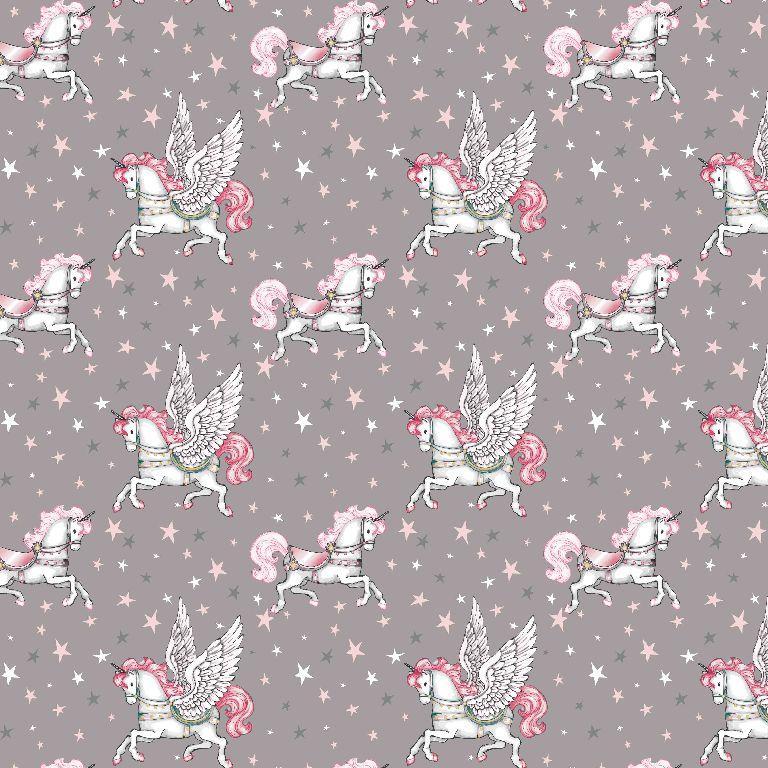 100% Baumwolle Einhorn grau/rosa