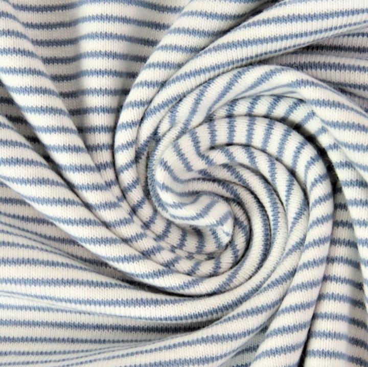 Jersey Mini-Streifen jeans/weiß