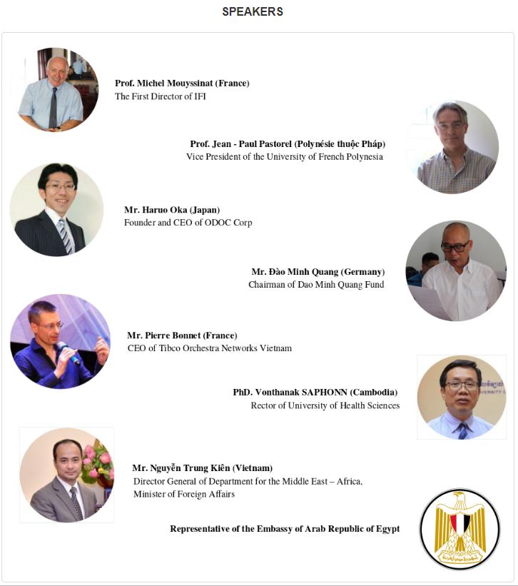 FRANCONOMICS SPEAKERSの紹介画像です。フランス、フランス領ポリネシア、ドイツ、カンボジア、ベトナム、エジプト、そして日本からは弊社代表の岡がSPEAKERとして登壇しました。